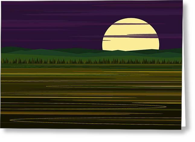 Moonrise Digital Art Greeting Cards - Whimsical Moonrise Greeting Card by Val Arie