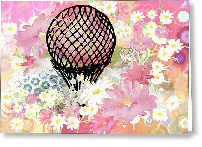Whimsical Musing High In The Air Pink Greeting Card by Georgiana Romanovna
