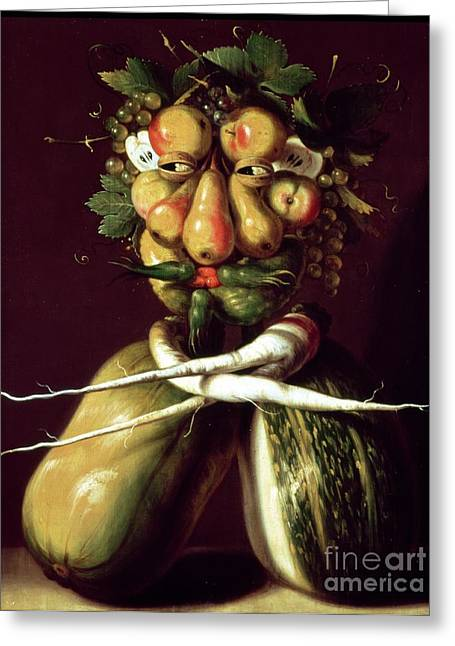 Whimsical. Greeting Cards - Whimsical Portrait Greeting Card by Arcimboldo