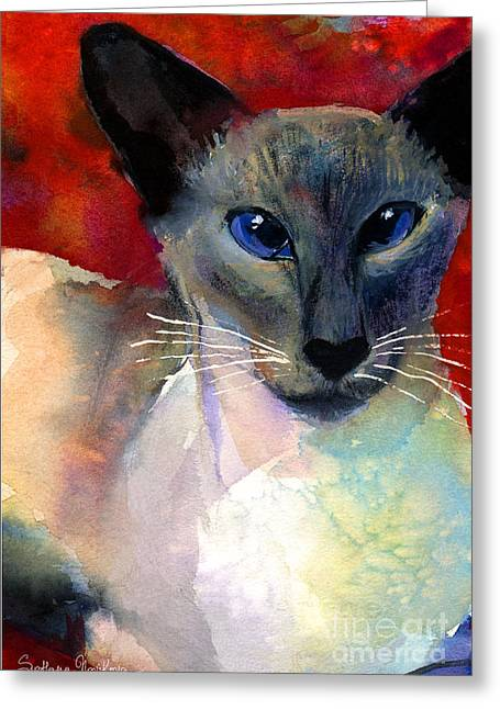 Cute Kitten Drawings Greeting Cards - Whimsical Siamese Cat painting Greeting Card by Svetlana Novikova