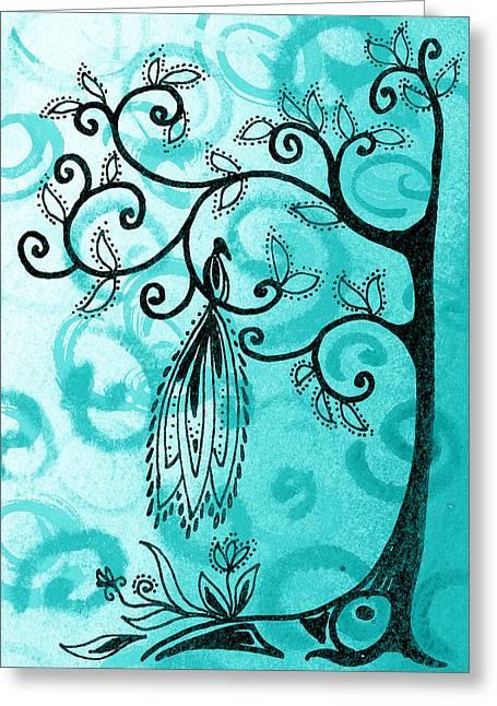 Whimsical Tree And Magical Bird Greeting Card by Irina Sztukowski