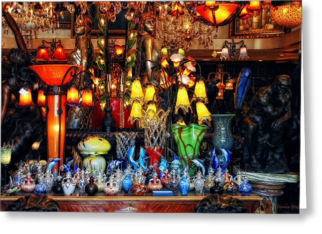 Store Fronts Greeting Cards - Whimsical Window Greeting Card by Donna Blackhall