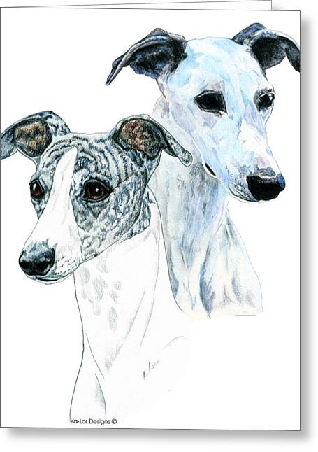 White Dog Greeting Cards - Whippet Pair Greeting Card by Kathleen Sepulveda