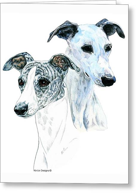 Drawn Greeting Cards - Whippet Pair Greeting Card by Kathleen Sepulveda