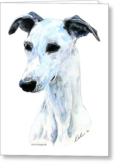 Whippet, White Greeting Card by Kathleen Sepulveda