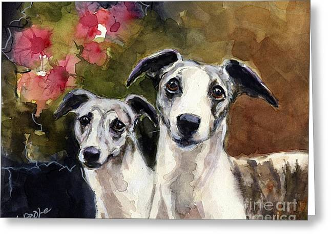 Whippets Greeting Card by Molly Poole