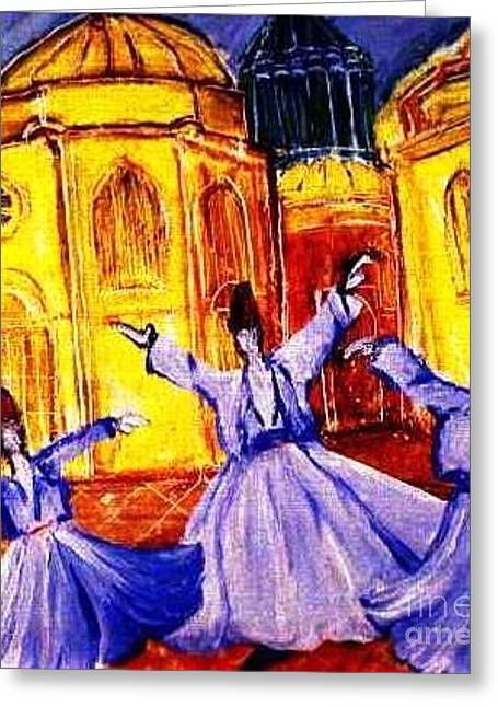 Whirling Dervishes 2 Greeting Card by Duygu Kivanc