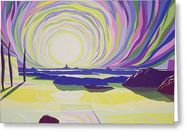 Abstract Seascape Greeting Cards - Whirling Sunrise - La Rocque Greeting Card by Derek Crow