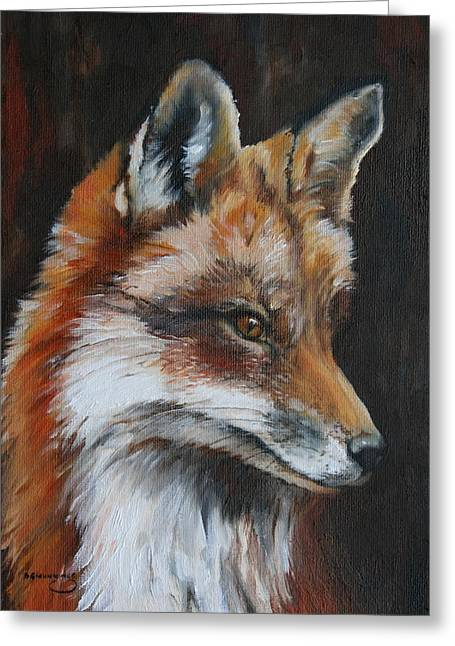 Foxhunting Greeting Cards - Whiskered Gentleman Greeting Card by Beth Munnings