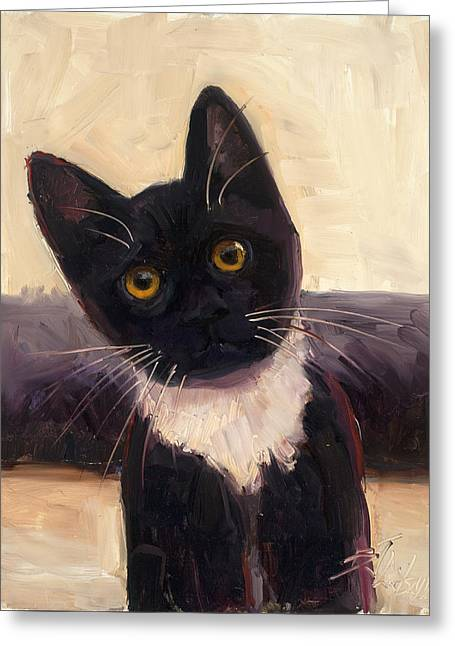 Cute Kitten Paintings Greeting Cards - Whiskers  Greeting Card by Billie Colson
