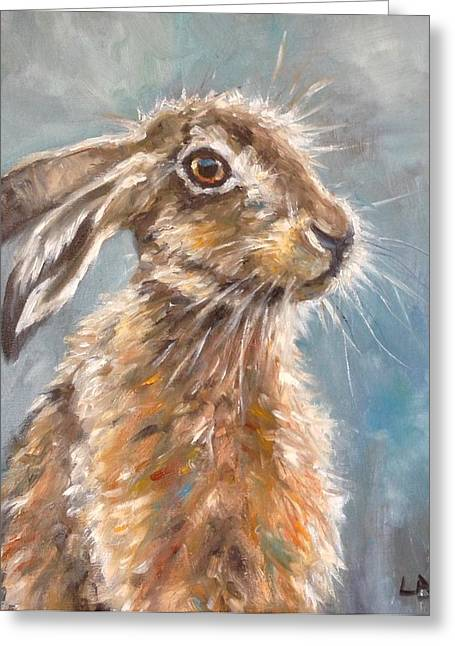 March Hare Greeting Cards - Whiskers Greeting Card by Louise  Brown
