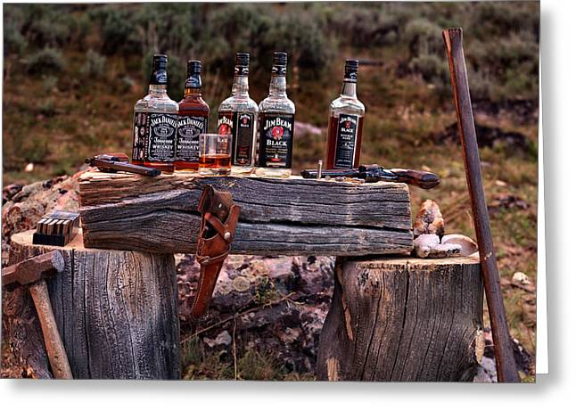 Whiskey and guns Greeting Card by Leland D Howard