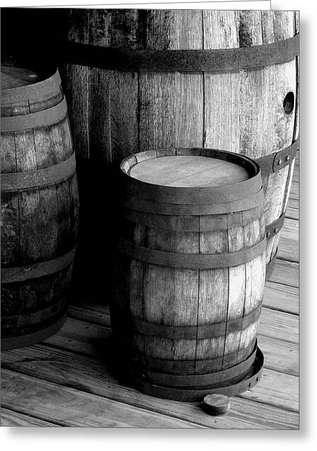 Old Barrels Greeting Cards - Whiskey Barrels Greeting Card by Val Arie