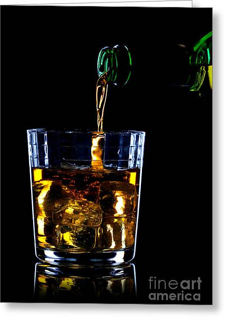 Tumbler Greeting Cards - Whiskey being poured Greeting Card by Richard Thomas