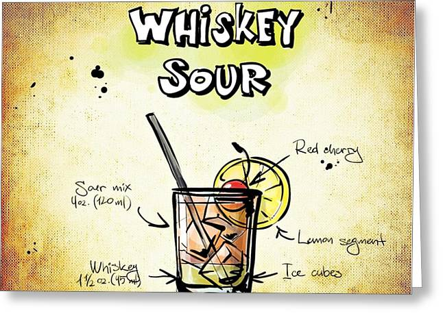Gathering Mixed Media Greeting Cards - Whiskey Sour Greeting Card by Movie Poster Prints