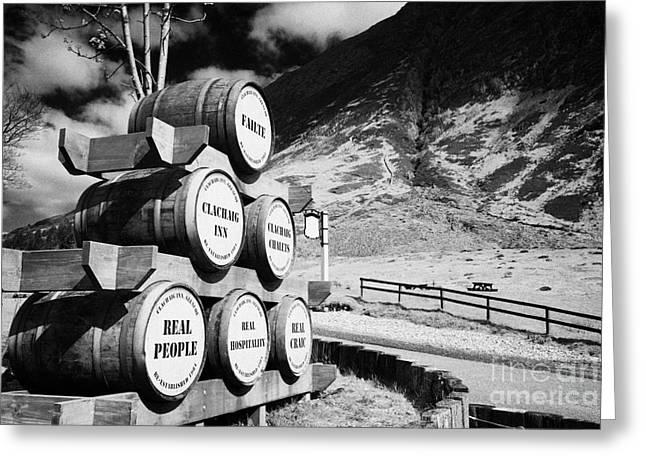 Glen Coe Greeting Cards - Whisky Barrels Outside The Clachaig Inn Glencoe Highlands Scotland Uk Greeting Card by Joe Fox