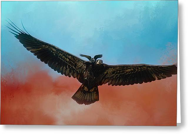 Eastern Kingbird Greeting Cards - Whisper of the Eagle Rider Greeting Card by Jai Johnson