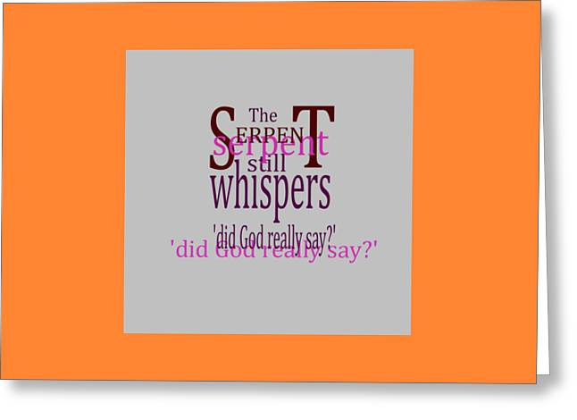 Bible Mixed Media Greeting Cards - Whispering Serpent Greeting Card by Levi Soucy