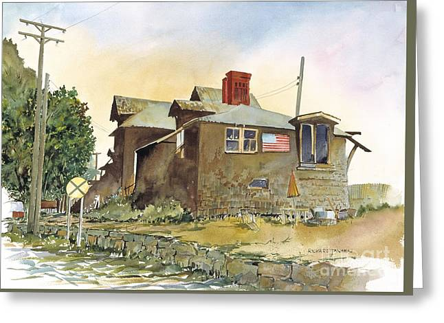Red Rock Crossing Paintings Greeting Cards - Whistle Stop  Greeting Card by Richard Jansen