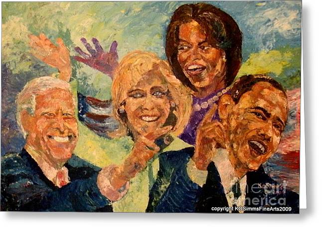 Michelle Obama Paintings Greeting Cards - Whistle Stop Tour USA 2008 Greeting Card by Keith OBrien Simms