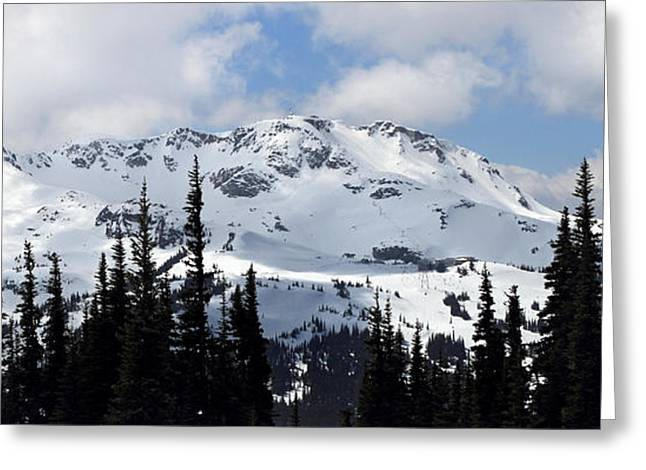 Whistler Greeting Cards - Whistler mountain peak view from Blackcomb Greeting Card by Pierre Leclerc Photography