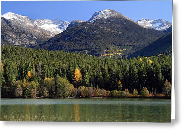 Whistler Greeting Cards - Whistler Mountain scenery from Green Lake Greeting Card by Pierre Leclerc Photography
