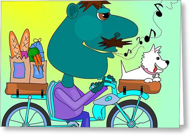 Whistling Bicycle Rider Greeting Card by Debra Baldwin