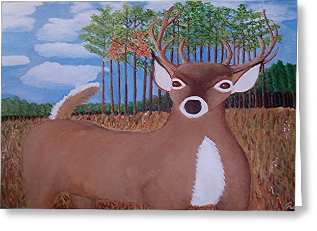 Whit Tall Buck Greeting Card by  Richard  Rollings