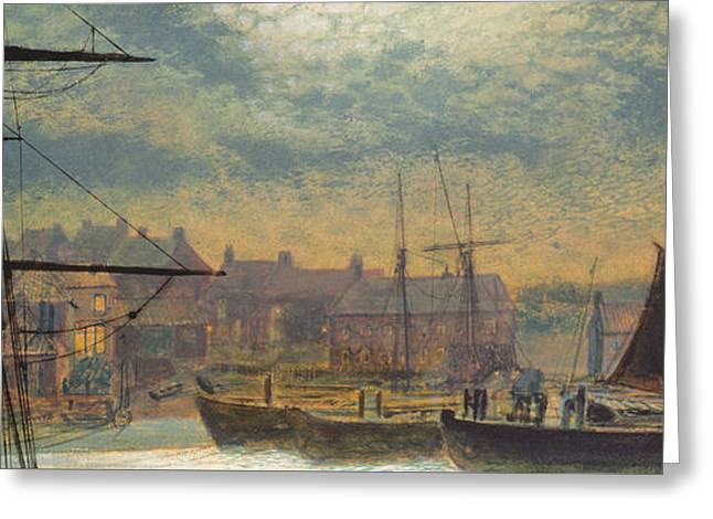 Masted Ships Greeting Cards - Whitby by Moonlight Greeting Card by John Atkinson Grimshaw