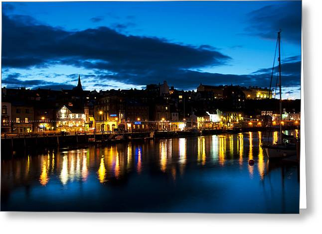 Sailboat Photos Greeting Cards - Whitby eve Greeting Card by Svetlana Sewell