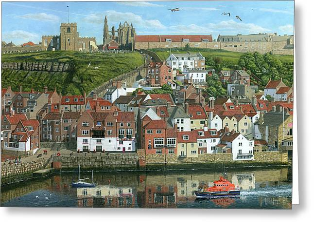 Whitby Harbor North Yorkshire  Greeting Card by Richard Harpum