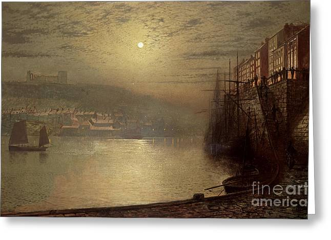 Port Town Greeting Cards - Whitby Greeting Card by John Atkinson Grimshaw