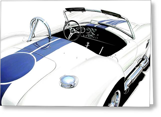 Indy Car Greeting Cards - White AC Cobra Greeting Card by David Kyte