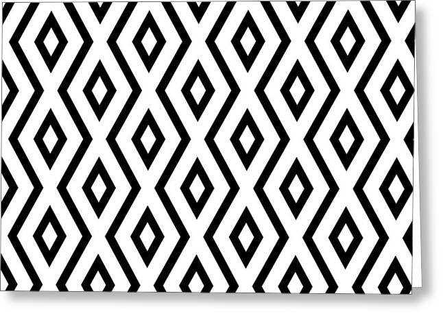 Bedroom Art Greeting Cards - White and Black Pattern Greeting Card by Christina Rollo