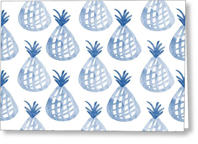 Duvet Greeting Cards - White and Blue Pineapple Party Greeting Card by Linda Woods