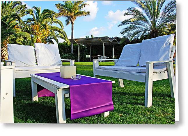 Lawn Chair Greeting Cards - White and Purple Greeting Card by Zalman Lazkowicz