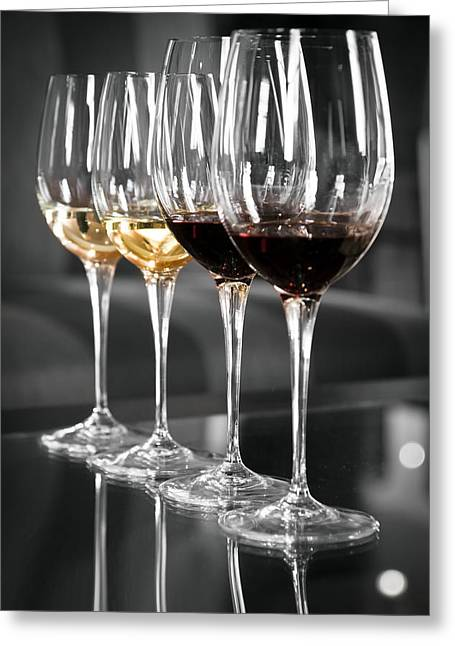 Glass Table Reflection Greeting Cards - White and red wine glasses Greeting Card by Edward Duckitt