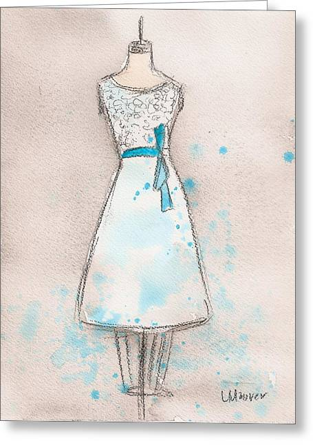 White And Teal Dress Greeting Card by Lauren Maurer