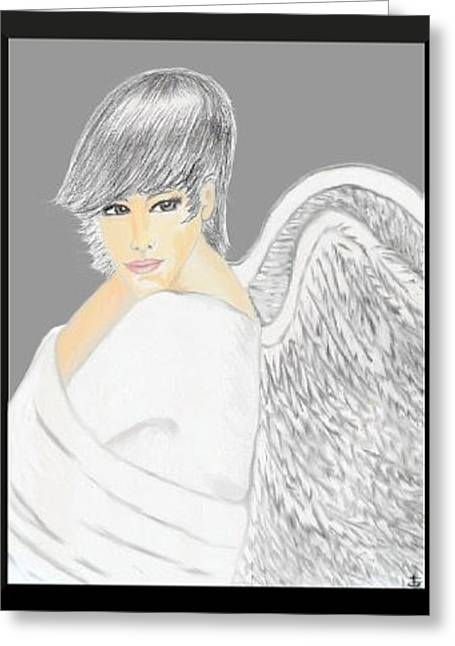 Fineart Pastels Greeting Cards - White Angel Greeting Card by Angela Anchor