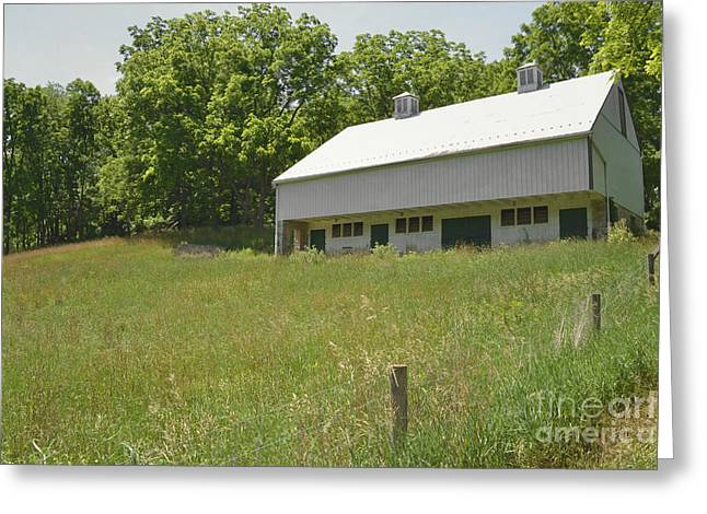 Framed Old Door Print Greeting Cards - White Barn Farm Field Greeting Card by Andrea Hazel Ihlefeld