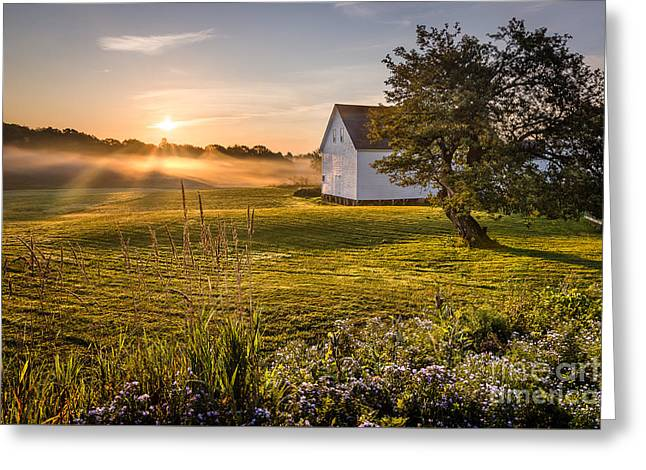 Morning Mist Images Greeting Cards - White Barn Sunrise Greeting Card by Benjamin Williamson