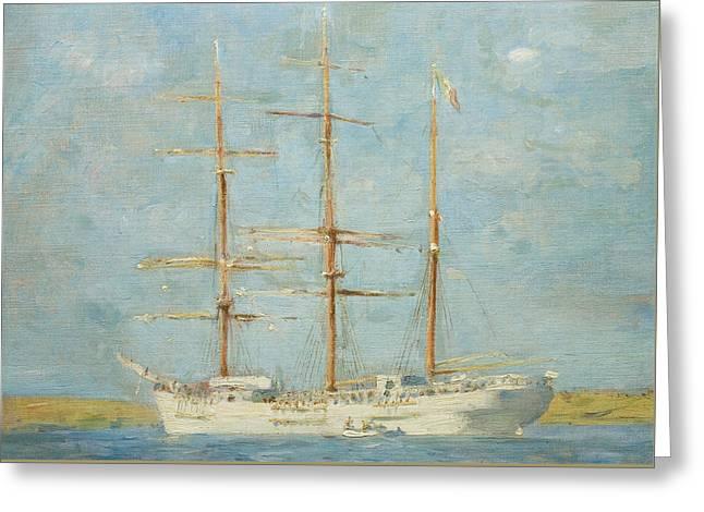 White Barque Greeting Card by Henry Scott Tuke