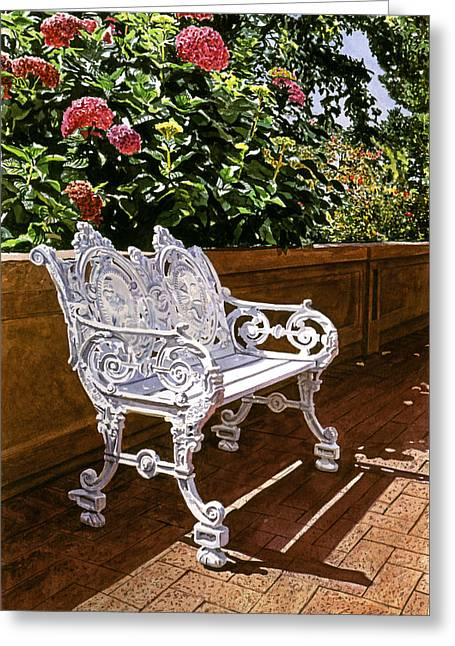 Garden Chairs Greeting Cards - White Bench With Hydrangeas Greeting Card by David Lloyd Glover
