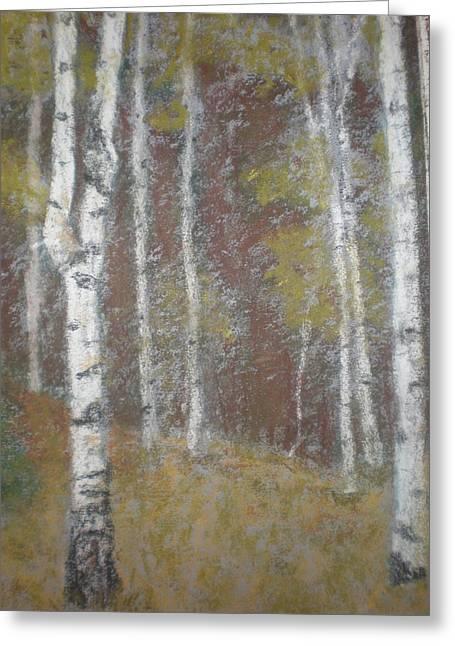 Birch Tree Pastels Greeting Cards - White Birch Trees  Greeting Card by Susan Haiken