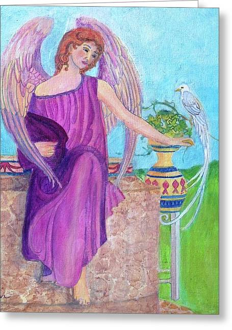 White Bird Angel Greeting Card by Priscilla Greenbaum