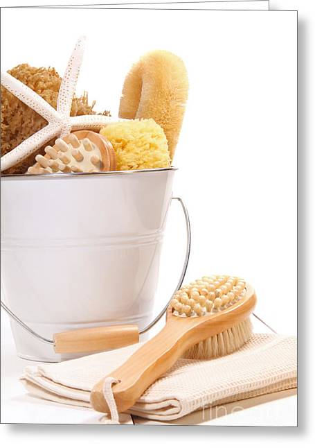 Bath Greeting Cards - White bucket filled with sponges and scrub brushes  Greeting Card by Sandra Cunningham