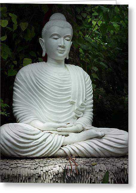 White Buddha Greeting Card by Honey Bee