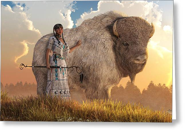 White Buffalo Calf Woman Greeting Card by Daniel Eskridge