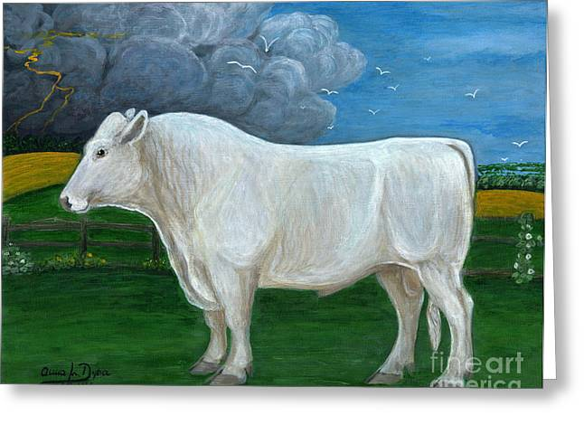 White Bull Greeting Card by Anna Folkartanna Maciejewska-Dyba