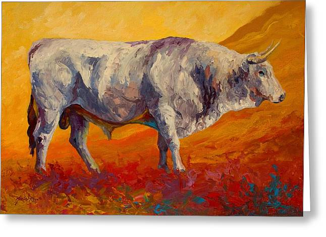 Cow Greeting Cards - White Bull Greeting Card by Marion Rose